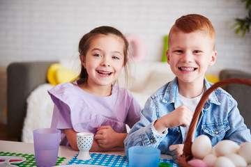 Portrait of smiling kids in easter time