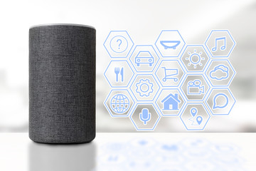 Intelligent speaker device in a smart home with some icons representing different cloud services and skills. Empty copy space for Editor's text.