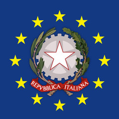 Italy coat of arms on the European Union flag, vector illustration