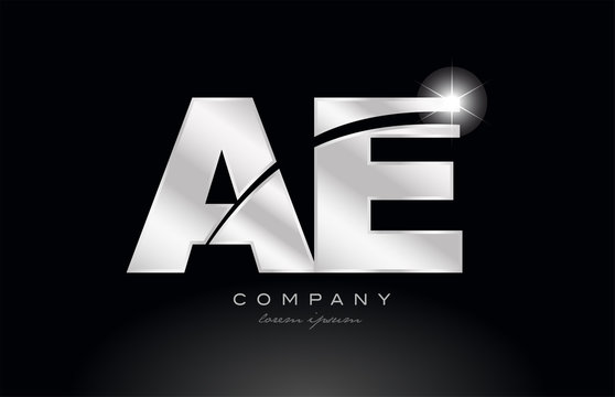 silver letter ae a e metal combination alphabet with grey color on black background logo