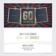 60 years anniversary party invitation vector template, Illustration