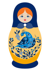 Traditional souvenir Russian floral folk matryoshka doll, Gorodets painting stylization. Birds and flowers, matryoshka babushka. Russian nesting doll girl with a smile. Isolated on white illustration.