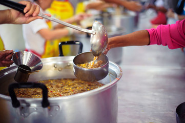 Charity food for the poor people to enjoy eating