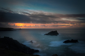 Sunset on the cornwall coast at Pentire