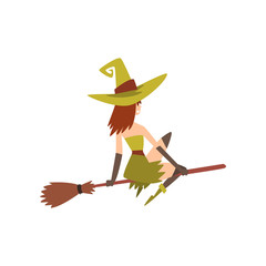 Beautiful Witch Flying on Broom, Charming Witch Character Vector Illustration