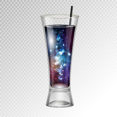 Vector illustration of realistic cocktail glass with space background inside