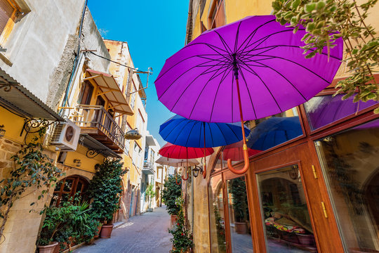 Colorfull Umbrellas hanging over the street in Chania, Greece