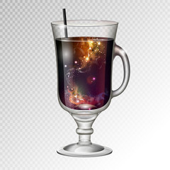 Vector illustration of realistic cocktail irish coffee glass with space background inside