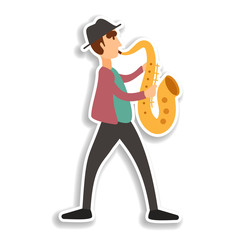 Jazzman in hat with saxophone, color sticker icon. Elements of Musician in color icons. Simple icon for websites, web design, mobile app, info graphics