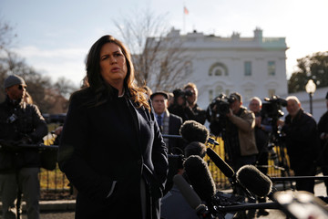 White House spokeswoman Sarah Sanders speaks to reporters at the White House in Washington, U.S.