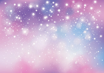 Vector unicorn, sparkling background with lights and stars.