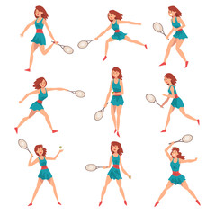 Young Woman Playing Tennis Set, Professional Sportswoman Character in Action Vector Illustration