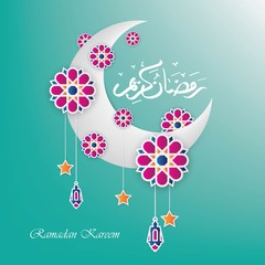 Ramadan kareem greeting arabic calligraphy with paper cut flowers,stars,lanterns and crescent