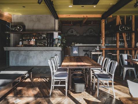 Interior of Japanese modern style cafe