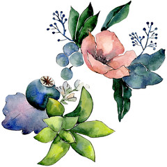 Bouquets with succulent floral botanical flowers. Watercolor background set. Isolated succulents illustration element.