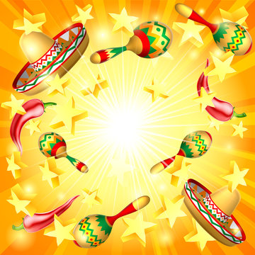 A Cinco de Mayo Mexican holiday party themed background with stars, straw hats maracas and red peppers