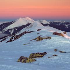 Dovbushanka mountain before a sunrise