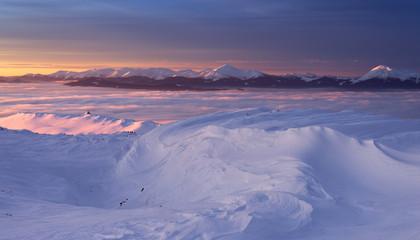 View to winter Chornohora mountain range in twilight