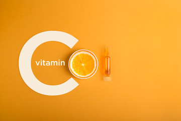 Serum and cosmetics with vitamin C.  Immunity protection concept, antiviral prevention Essential oil from citrus fruits.