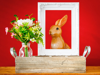 artificially bunch of flowers easter bunny holiday decoration background