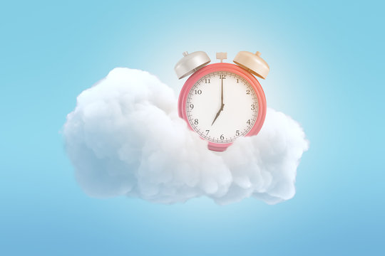 3d rendering of an old-fashioned alarm clock on a fluffy white cloud on a blue background.