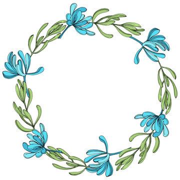 Vector Jungle botanical succulent flower. Engraved ink art illustration. Frame border ornament square.