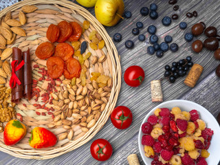 resveratrol rich food on wooden surface, antioxidants, decorated with wine corks