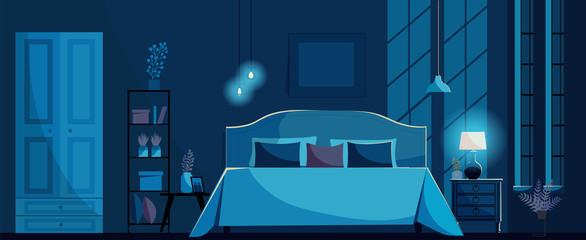 Dark blue Bedroom interior with a bed, nightstand, shelf, wardrobe, lighting bedside lamp and windows. Moon light on ter wall. Bedroom at night without people.Flat cartoon style vector illustration.