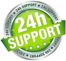 "Button Banner ""24h Support"" Grün/Silber"
