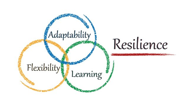 Concept resilience. Adaptability, flexibility, learning. Vector image.