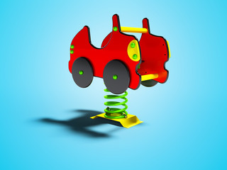 Carousel red car on spring for kids front view 3d render on blue background with shadow