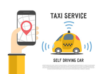 Autonomous self-driving automobile. Hand holding smartphone with application for taxi service with map and geo pin. Sensors smart car. Driverless vehicle vector illustration.