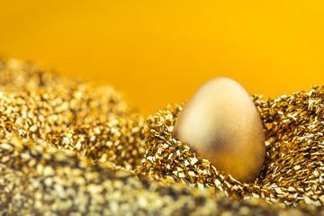 Image of shiny golden egg on golden fabric