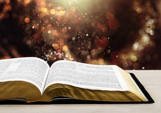 Open Holy bible book on light background