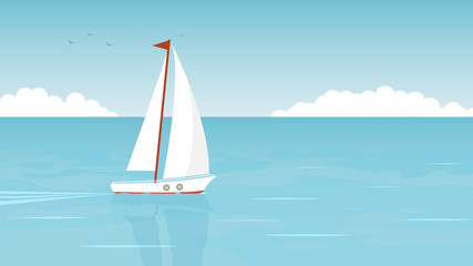 Sailboat in the open sea on the background of clouds and seagulls. Vector illustration Wall mural
