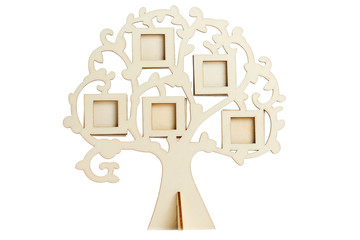 Wooden frame of the family tree on a white background