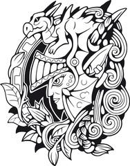 elf warrior with dragon helmet on his head, outline illustration