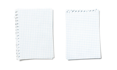 Blank note page isolated. Empty sheets torn from a notebook. The ragged edge on the left and at the top. A set of paper from two different checkered notebooks.