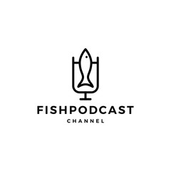 fish podcast logo icon for fishing blog video vlog channel