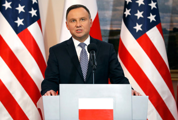 Polish President Andrzej Duda speaks during a joint news conference with U.S. Vice President Mike Pence at Belvedere Palace in Warsaw