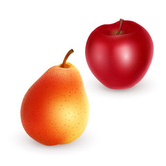 Ripe Apple and pear on light background, realistic vector
