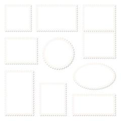Set Weiße Briefmarken Rahmen Beige