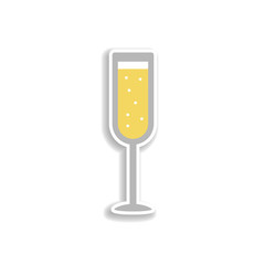 Alcohol, champagne, glass, Christmas 2 colored line sticker icon. Elements of Christmas in color icons. Simple icon for websites, web design, mobile app, info graphics