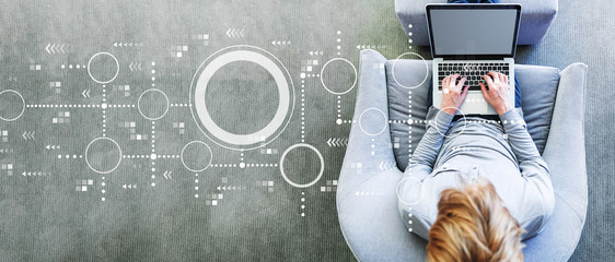 Fototapeta Connected circles chart with man using a laptop in a modern gray chair obraz