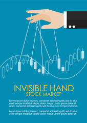 Hand is controlling stock candle stick graph infographic