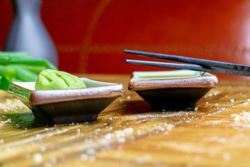 Soja Sauce, Wasabi, Sushi Restaurant