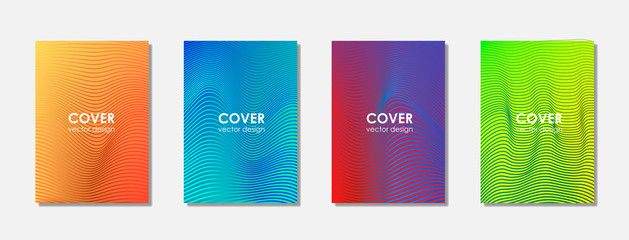 Halftone shapes minimal geometric cover templates set graphic design