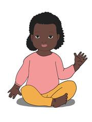 cute  cartoon curly  blackgirl baby  sitting illustration