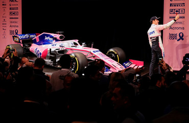 SportPesa Racing Point F1 Team driver Sergio Perez takes a selfie after unveiling the team's new car livery at a pre-season launch event at the Canadian International AutoShow in Toronto