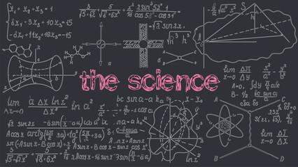 Black chalkboard inscribed scientific